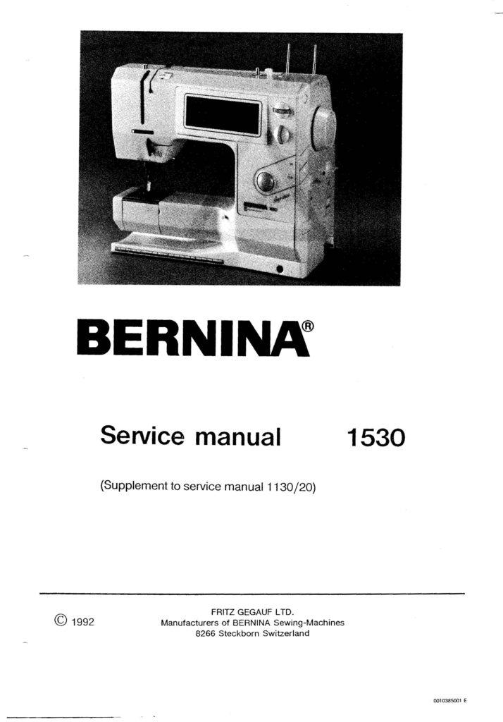 Service Manual For Bernina 1530 20 Sewing Machine Supplemental