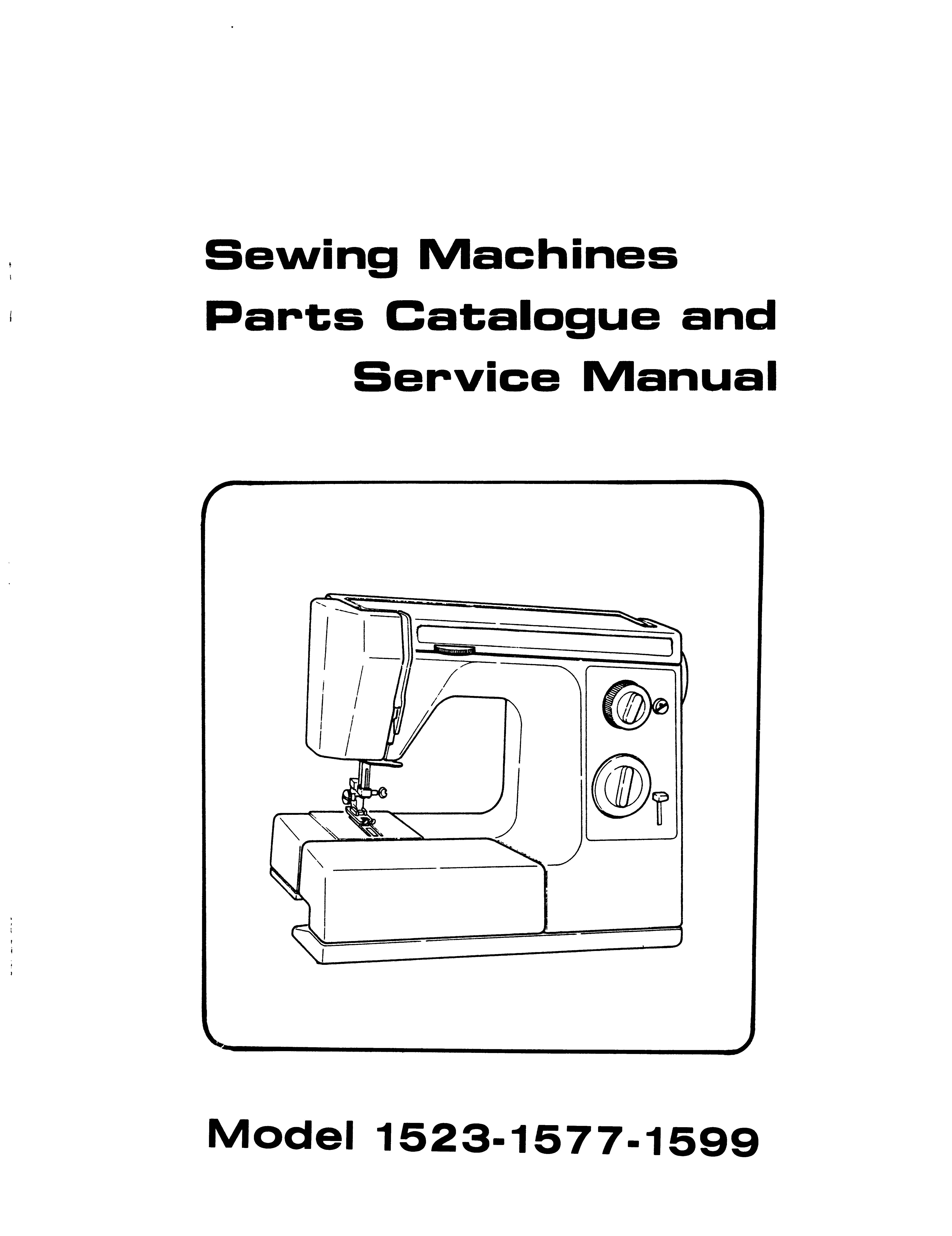 Service Manual & Parts List White 1523, 1577, 1599 Sewing Machine
